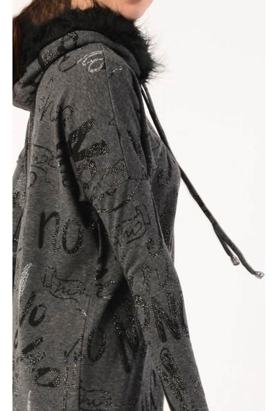 Nefise Kadın Baskılı Kapüşonlu Sweatshirt