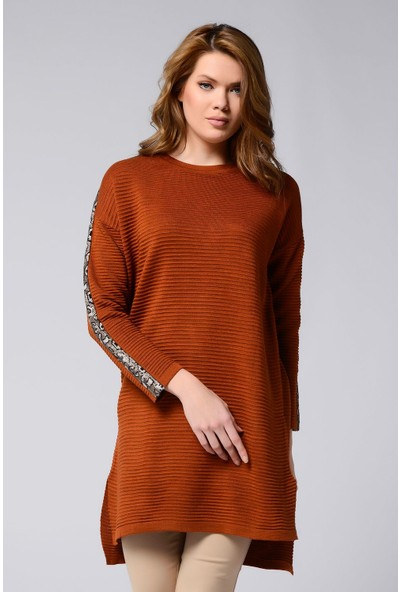 Nefise Kadın Nefise Kadın Gorfalı Kolu Şeritli Tunik