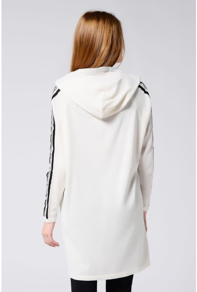 Nefise Kadın Nefise Kadın Kolları Şeritli Kapşonlu Tunik