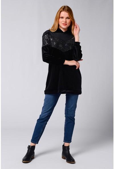Nefise Kadın Nefise Kadın Pullu Kadife Sweatshirt Siyah