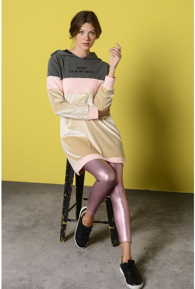 Nefise Kadın Nefise Kadın Yazı Baskılı Kapşonlu Sweatshirt