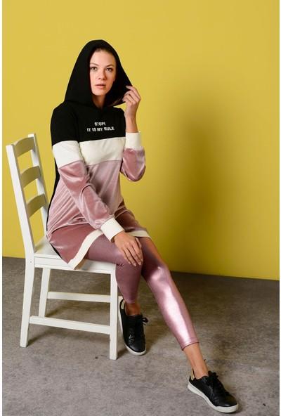 Nefise Kadın Yazı Baskılı Kapşonlu Sweatshirt
