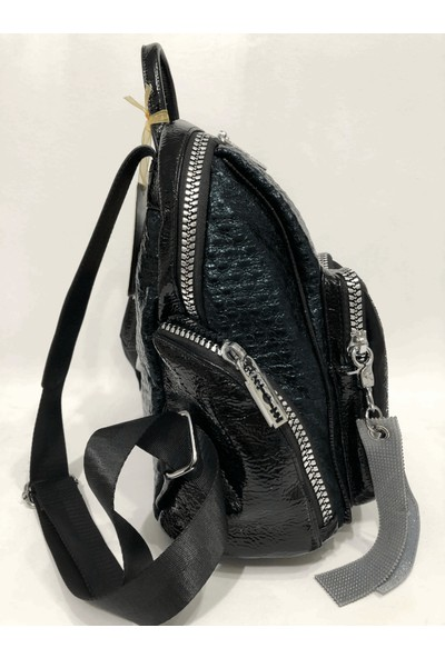Ççs Kadın Sırt Çantası Taşlı Ebat 30Cm X 27Cm Siyah Renk