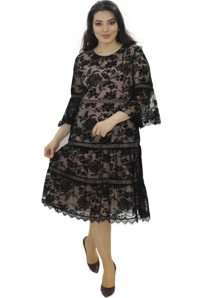 Rapellin Flok Baskılı Elbise 44
