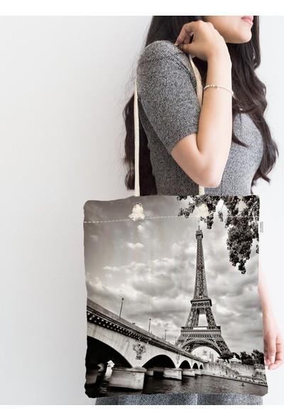 RealHomes Siyah Beyaz Paris Tasarımlı Dijital Baskılı Fermuarlı Bez Çanta