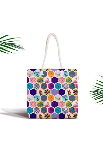 RealHomes Renkli Mozaik Desenli Fermuarlı Dijital Baskılı Bez Çanta