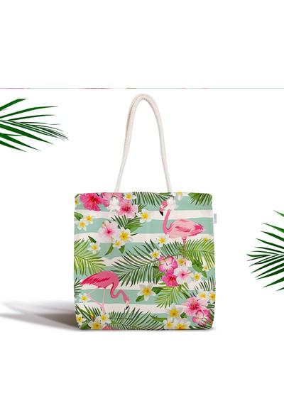 RealHomes Flamingo Desen Dijital Baskılı Modern Fermuarlı Kumaş Çanta