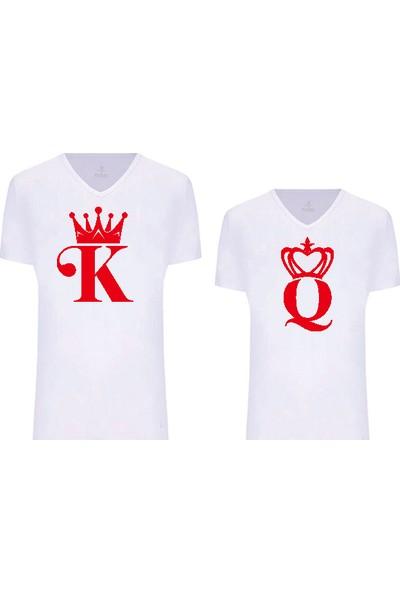 Dolce Sevgililer Günü Tişört Takım K-Q 1 Beyaz-Kırmızı
