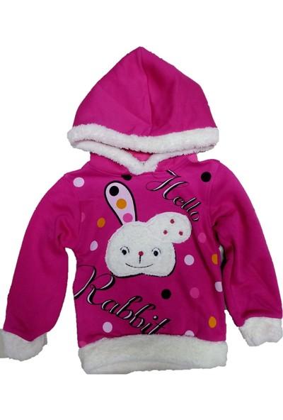 Bittoş Kids Kapüşonlu tavşan desenli kız çocuk sweat