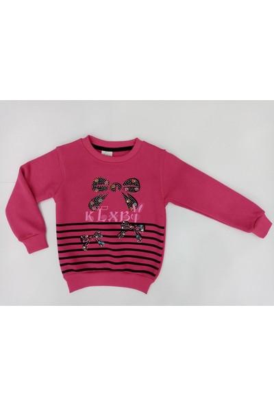 Şirine Kids Kız Çocuk Dar Kalıp Fiyonk Kurdele Desenli Sweatshirt