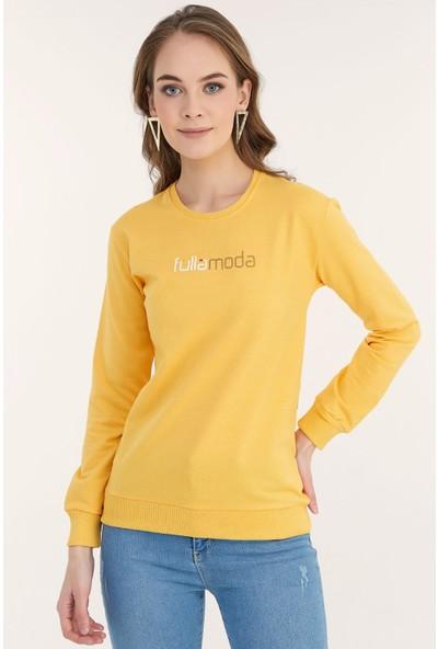 FullaModa Kadın Fulla Moda Baskılı Sweatshirt