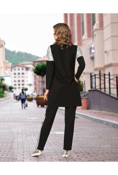 Estee Siyah Gümüş Garnili Uzun Tunikli Tesettür Eşofman Takımı 007