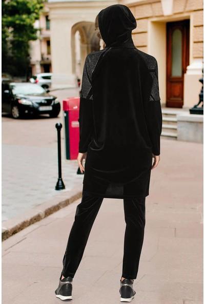 Estee Siyah Sim Baskılı Uzun Tunikli Tesettür Eşofman Takımı 001
