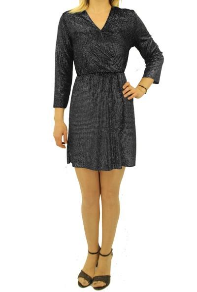 Pika Kadın Gümüş Bel Kısmı Lastikli Elbise