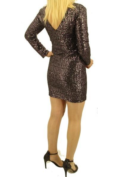 Gossip Kadın Mor Parlak Pullu Elbise