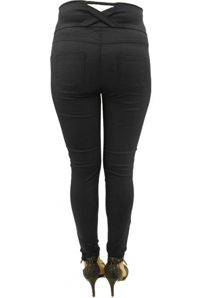 END Kadın Siyah Kaplama Arkası Çaprazlı Yüksek Bel Pantolon