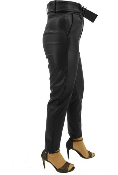 END Kadın Siyah Kemer Detaylı Deri Pantolon