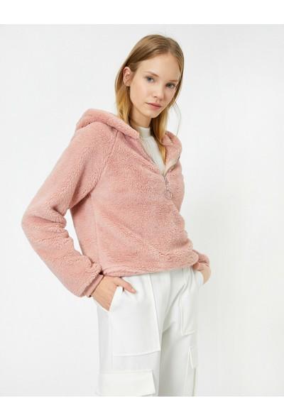 Koton Kadın Kapüşonlu Peluş Sweatshirt