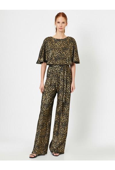 Koton Kadın Leopard Desenli Tulum