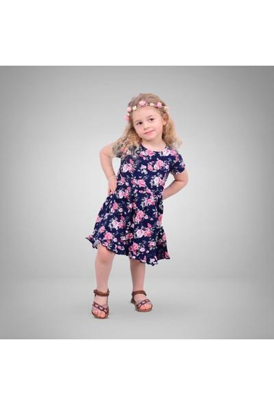 Pumpido Çiçekli Penye Elbise Lacivert