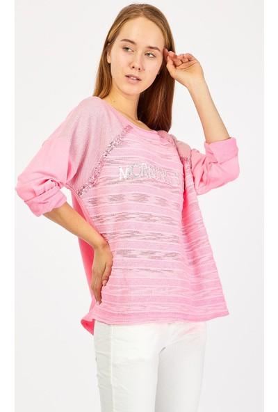 Pua Fashion Pembe Omuzu Simli Payetli Bluz