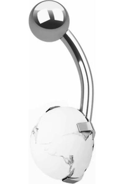 VipBT Magnezit Taşlı 316L Cerrahi Çelik Göbek Piercing Gümüş Gri