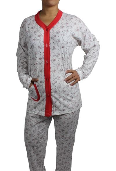 Nazar Pijama Takımı Büyük Beden Nar Çiçeği