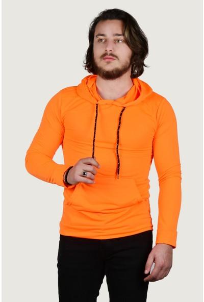 Terapi Men Erkek Kapüşonlu Sweatshirt 9Y-5200178-091-1 Fosfor Turuncusu