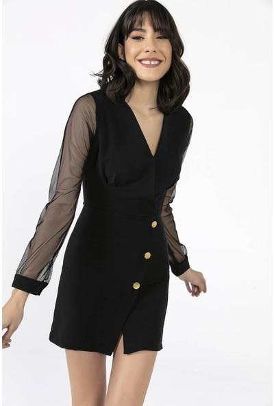 Liplipo Kadın V Yaka Kollari Tül Pileli Düğme Detayli Elbise
