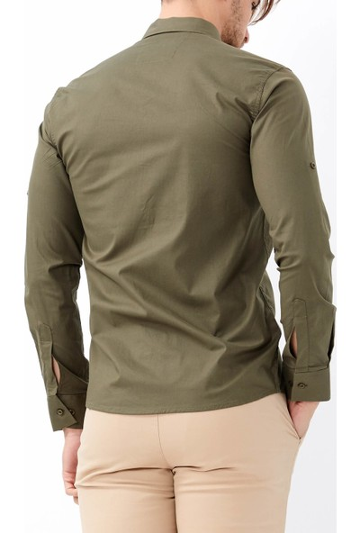 Adze Erkek Haki Slim Fit Klasik Gömlek