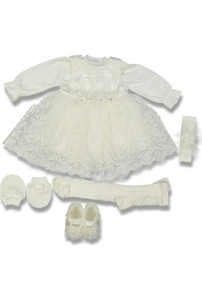 LiaKids Kız Mevlüt Set Çiçekli Beyaz