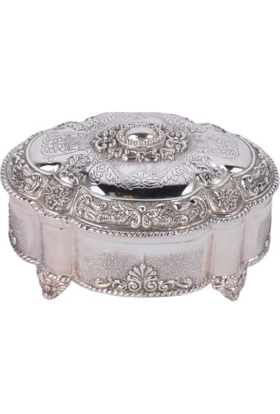 Zücace Gümüş Renk Işlemeli Kapaklı Kutu