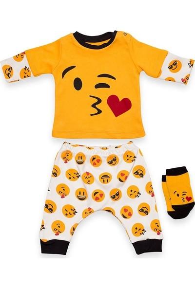 Cool Emojili Çoraplı Alt-Üst Bebek Takımı