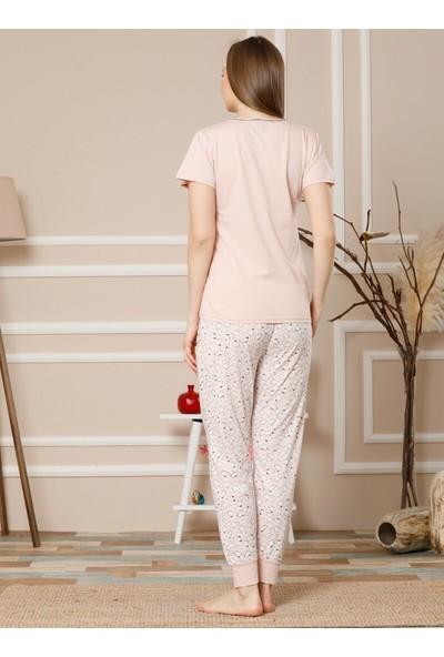 Akbeniz Kısa Kollu Pijama Takımı Pudra