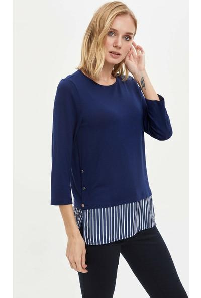 DeFacto Kadın Düğme Detaylı Uzun Kollu T-shirt