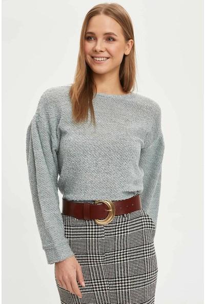 DeFacto Kadın Düşük Omuz Balon Kol Uzun Kollu T-shirt