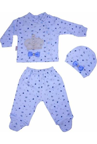 AlpCollection Inci Taşlı Mavi Yenidoğan Erkek Bebek 3 Parça Kadife Zıbın Set