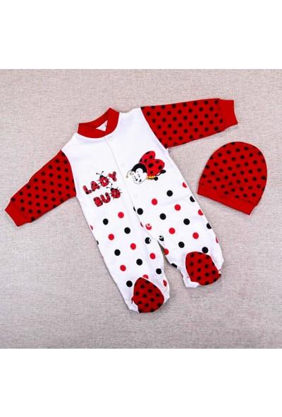 AlpCollection Kırmızı Uğur Böceği Kız Bebek 0-6 Ay Pamuklu Tulum