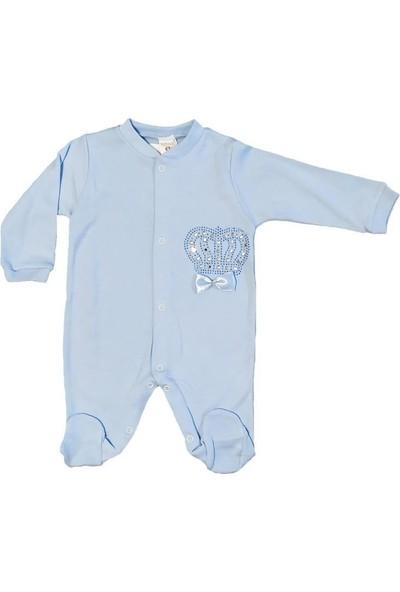 AlpCollection Mavi Inci Taşlı Yenidoğan 0-6 Ay Erkek Bebek Pamuklu Tulum