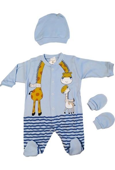 AlpCollection Mavi Zürafa 6-12 Ay Bebek 3 Parça Pamuklu Tulum Set