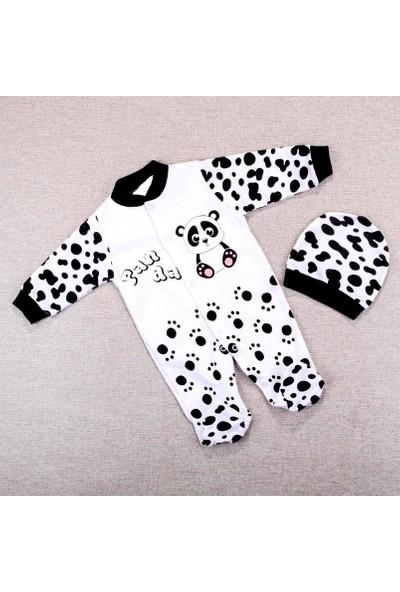 AlpCollection Siyah Panda Erkek Bebek 0-6 Ay Pamuklu Tulum