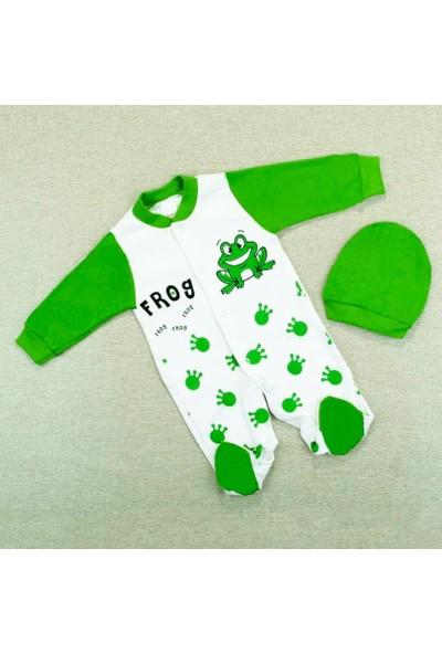 AlpCollection Yeşil Kurbağa Erkek Bebek 0-6 Ay Pamuklu Tulum
