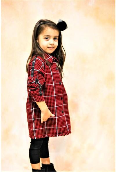 hoQuspoQus Kız Çocuk Kazayağı Tunik Deri ve Su Yolu Detaylı