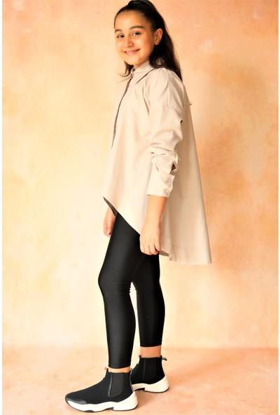 hoQuspoQus Kız Çocuk Asimetrik Taş Gömlek