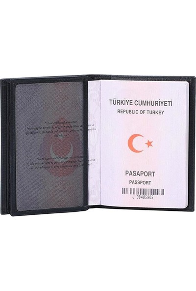 Garbalia Trip Deri Unisex Pasaport Kılıfı Kartlık Siyah
