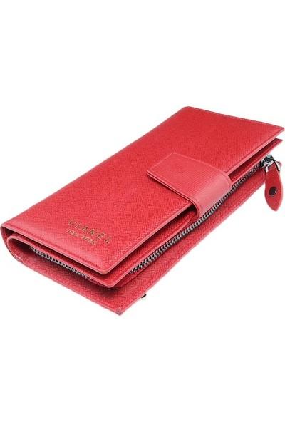 Vianel New York Mina Deri Kadın Cüzdanı Kırmızı