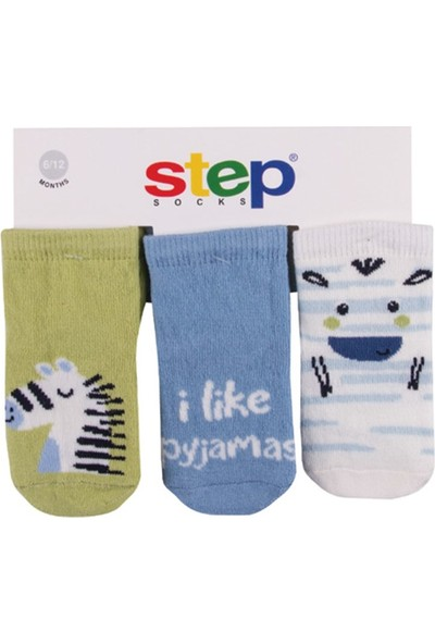 Step Zebra 3'lü Soket Bebek Çorabı 10066 0 - 6 Ay