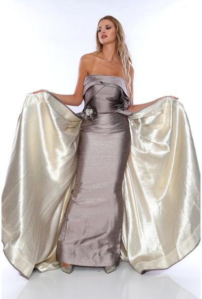 Alfa Abiye N204 Abiye Elbise Kadın Kuyruklu Straplez Vizon 40