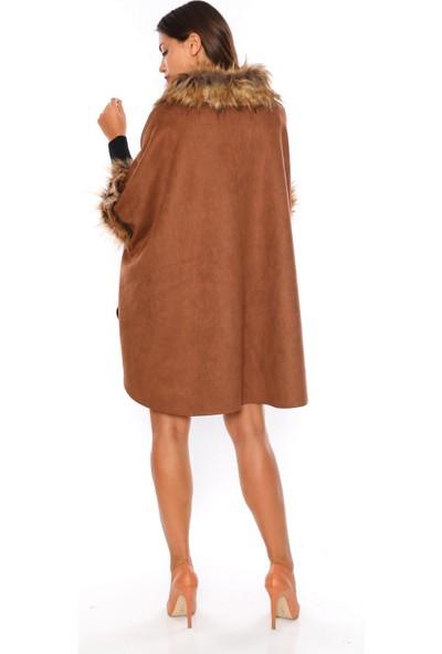 Alfa Abiye 606 Panço Güderi Kürk Yakalı Kadın Kahverengi