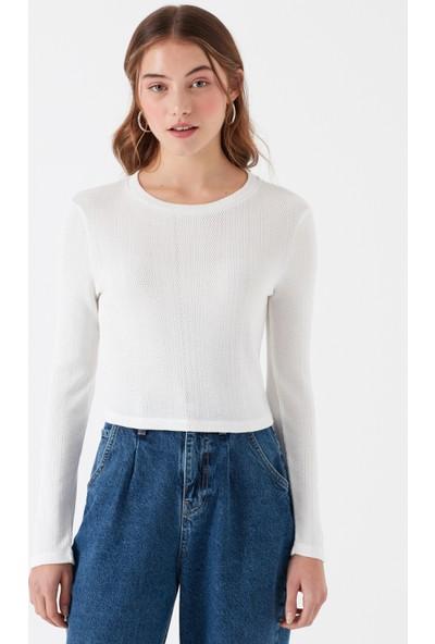 Mavi Uzun Kollu Dokulu Beyaz T-Shirt